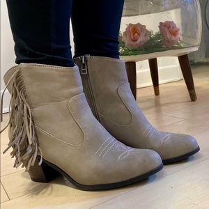 Tan Faux Nubuck Western Fringe Ankle Boot